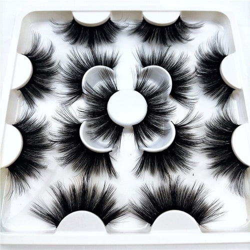 8 Pairs 3D Mink Hair False Eyelashes 25mm Long Lashes Extension Thick Wispy Fluffy Handmade Eye Makeup Tools Women Beauty Tools - My Little Decors.com