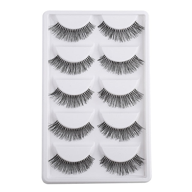 5 Pairs New Fashion Women Soft Natural Long Cross Fake Eye Lashes Handmade Thick False Eyelashes Extension Beauty Makeup - My Little Decors.com