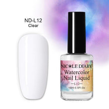 Load image into Gallery viewer, NICOLE DIARY White Blue Watercolor Ink Polish Blooming Nail Smoke Effect Magic Smudge Bubble DIY Varnish Decoration Nail Salon - My Little Decors.com