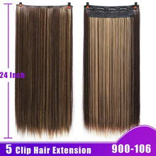 Load image into Gallery viewer, AOSIWIG Long Straight Hair Pieces Clips in Hair Extension Synthetic Natural Hair Ombre Black Brown Red for Women Fake Hairpiece - My Little Decors.com