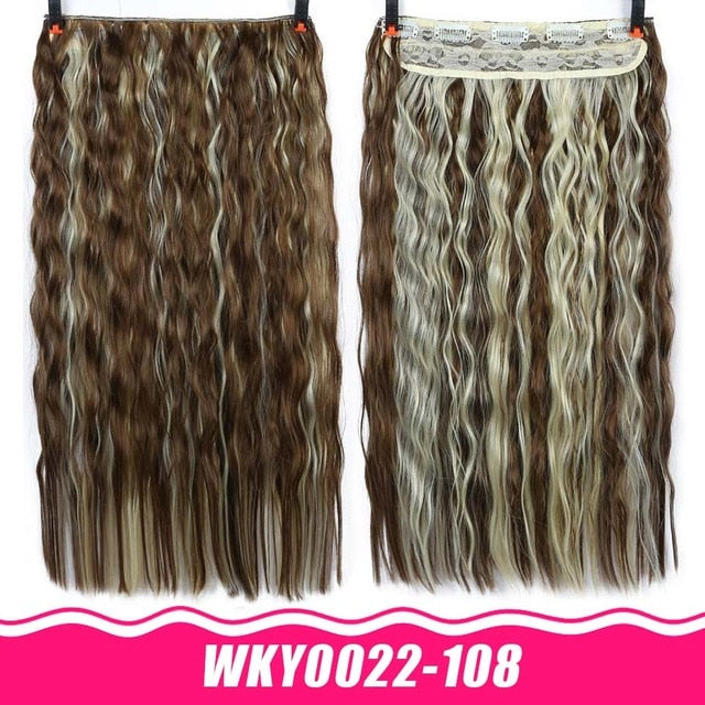 AOSIWIG Long Straight Hair Pieces Clips in Hair Extension Synthetic Natural Hair Ombre Black Brown Red for Women Fake Hairpiece - My Little Decors.com