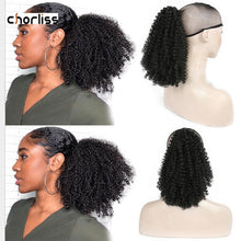 Load image into Gallery viewer, Chorliss 8inch Synthetic Kinky Curly Ponytail Afro Short Drawstring Hair Extension Bun Hair Puff Short Wrap Chignon For Women - My Little Decors.com