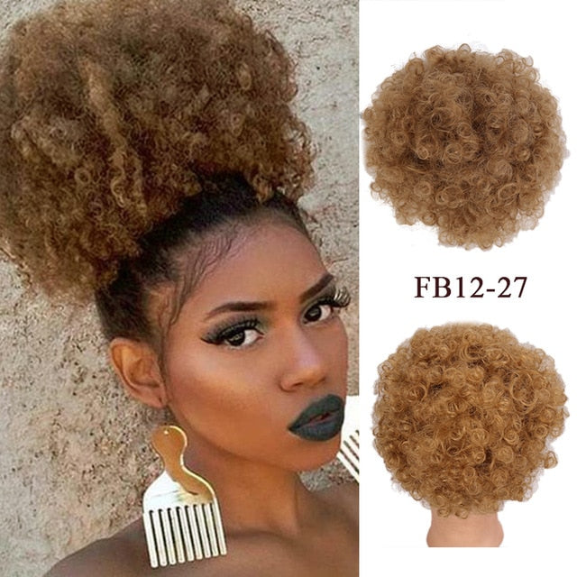LUPU Synthetic Hair Bun Puff Afro Kinky Curly Chignon Drawstring Short Ponytail High Temperature Fiber For Women - My Little Decors.com