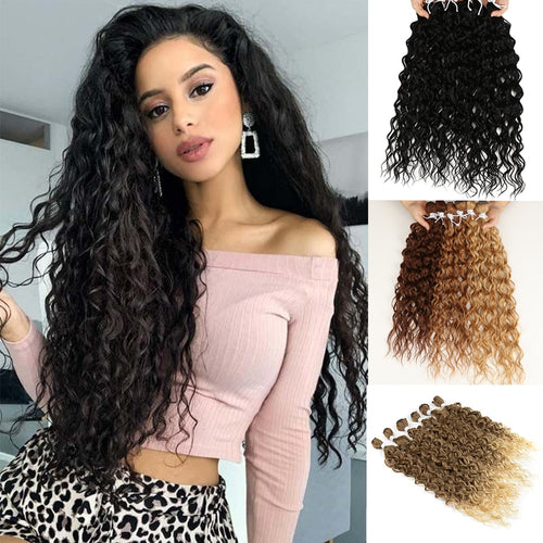 Synthetic Hair Extensions Afro Kinky Curly Hair Bundles Ombre Brown 24-28 inch 6 Pcs Heat Resistant For Black Women Classic Plus - My Little Decors.com