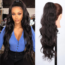 Load image into Gallery viewer, Doris Beauty Synthetic Wave Ponytail Hair Extension Black Ponytail Hair Curly Natural Drawstring Clip hair for Women - My Little Decors.com