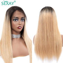 Load image into Gallery viewer, #27 Blonde Ombre Human Hair Wigs Bangs Fringe 150% Peruvian Straight Hair Full Machine Human Hair Wigs For Women Remy - My Little Decors.com