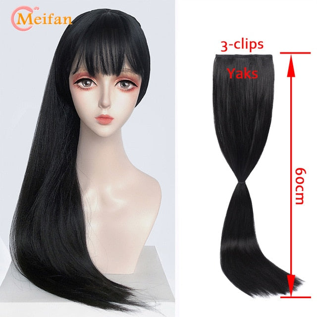 MEIFAN High Temperature Fiber Synthetic Wig Hanfu Hair Bun Retro Style Chignon with Hairband for Women - My Little Decors.com