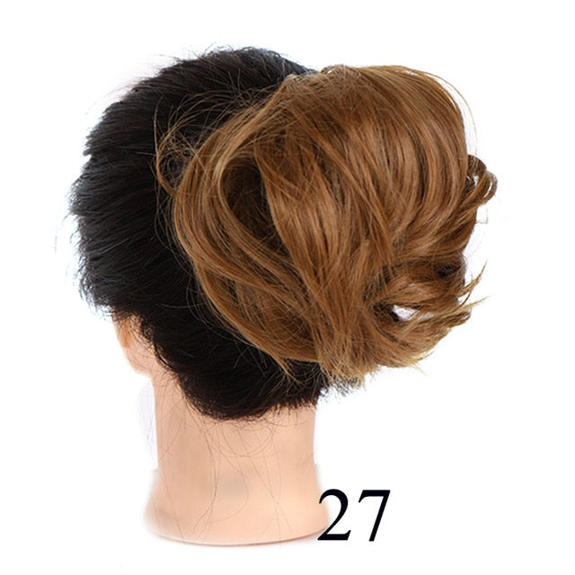 AOSI Girl Curly Scrunchie Chignon Rubber Band Brown Hairpiece Synthetic Fake Hair Extension Messy Bun Ponytails For Women Mother - My Little Decors.com