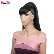 Load image into Gallery viewer, 24''Fake Hair Straight Ponytail With Bang Piece Clip in Ponytail Hair Extensions Hairpieces Pony Tail For Women Hair Expo City - My Little Decors.com