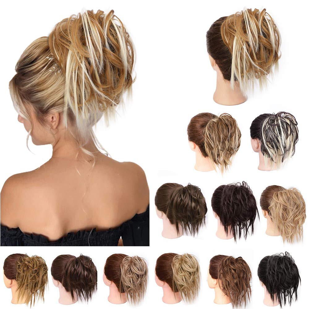 Synthetic Bun Extensions Curly Messy Bun Hair Scrunchies Elegant Chignons Wedding Hair Piece for Women and Kids - My Little Decors.com