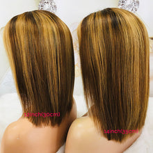 Load image into Gallery viewer, 13x4 Straight Lace Front Human Hair Wigs Brown Highlight Wig 150% Remy Short Bob Lace Front Wigs For Black Women Pre Plucked M - My Little Decors.com