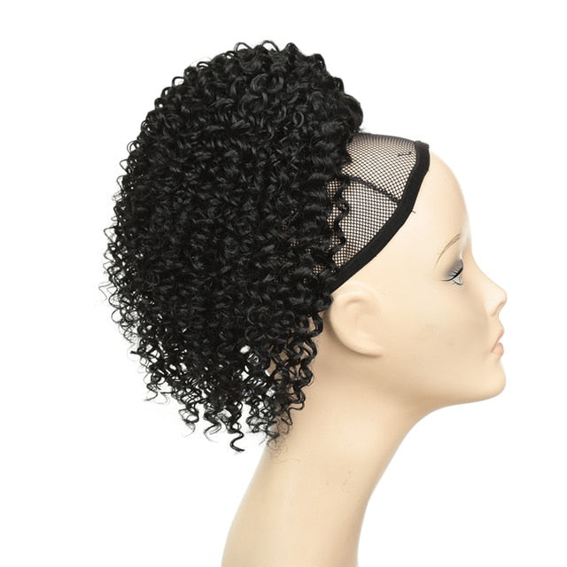 Afro Kinky Curly Ponytail Synthetic Drawstring Chignon Bun Hairpiece For Women Updo Clip in Hair Puff Extension Golden Beauty - My Little Decors.com