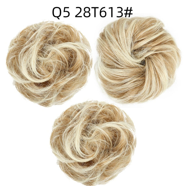 Elastic band with hair messy bun scrunchie chignon with elastic band messi hairpieces donut for women - My Little Decors.com