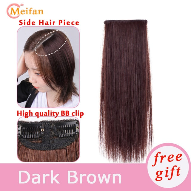 MEIFAN Clips In Hair extension Hair Pads Straight Hair Lining Synthetic Natural Fake Hairpiece for Women Cover for Hair Pieces - My Little Decors.com