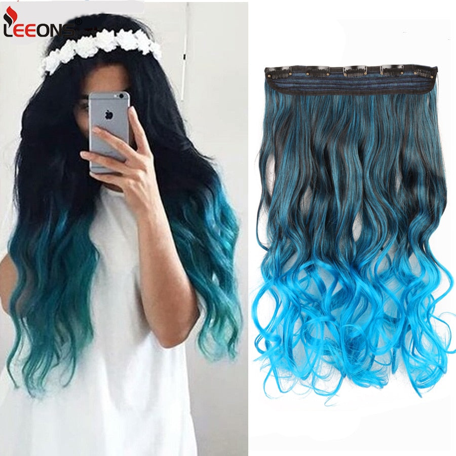 leeons fashion 5clips in hair long wave synthetic clip in hair extensions for women hair clips fake hairpiece curly wavy hairs - My Little Decors.com