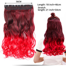 Load image into Gallery viewer, leeons fashion 5clips in hair long wave synthetic clip in hair extensions for women hair clips fake hairpiece curly wavy hairs - My Little Decors.com