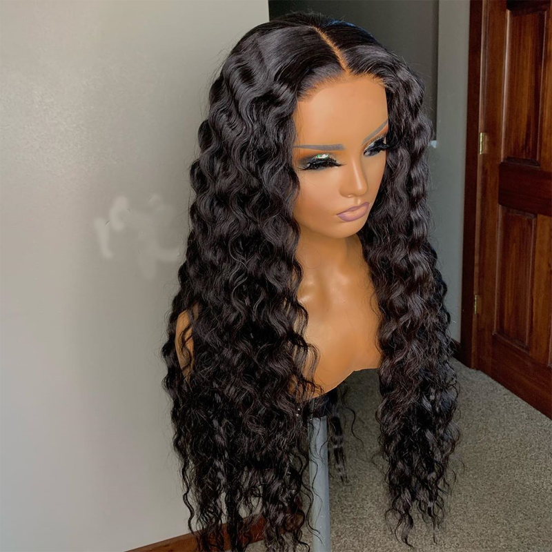 Deep Wave Wig Front Lace Human Hair Wigs For Women Pre Plucked Human Hair Wig Natural Hairline LINMAN - My Little Decors.com