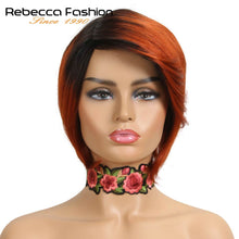 Load image into Gallery viewer, Rebecca Short Straight Hair Bob Wig Human Hair Wigs For Black Women Human Hair Full Wig Peruvian Remy Fashion Bob Wigs Red Blond - My Little Decors.com