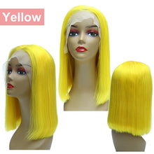 Load image into Gallery viewer, Yellow 13x6 Lace Front Wig Human Hair Short Bob Wigs For Black Women Blonde Ombre Colored Colorful Middle Part Straight Remy - My Little Decors.com