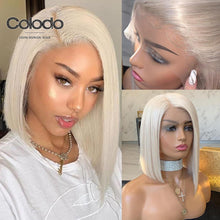 Load image into Gallery viewer, COLODO Platinum Blonde Lace Front Wig Pre Plucked Side Part Short Bob Wig Remy Hair Full Lace Human Hair Wigs for Black Women - My Little Decors.com