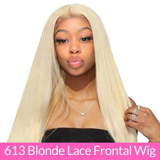 Brazilian Straight 613 Lace Closure Wig 150% Density 4x4 ISEE HAIR Straight Honey Blonde Lace Closure Human Hair Wigs For Women - My Little Decors.com