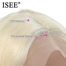 Load image into Gallery viewer, Brazilian Straight 613 Lace Closure Wig 150% Density 4x4 ISEE HAIR Straight Honey Blonde Lace Closure Human Hair Wigs For Women - My Little Decors.com