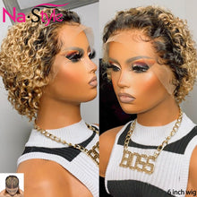 Load image into Gallery viewer, Colored Human Hair Wigs For Black Women Pixie Wig Human Hair T Part 1b/27 Blonde Lace Front Wig Colored Curly Bob Remy Wigs 130% - My Little Decors.com
