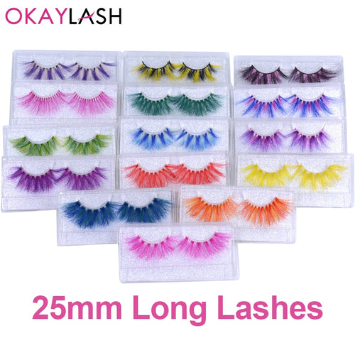 OKAYLASH 1pair/box real mink color 25mm long siberian eyelashes costume fancy ball dramatic unique colored red blue fake lashes - My Little Decors.com