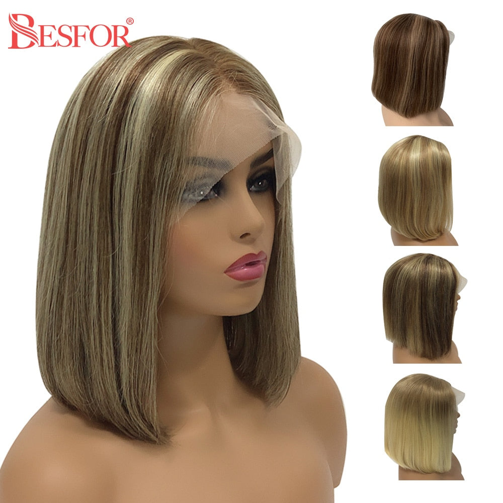 Short 13x1x4 Lace Ombre Blonde Human Hair Wigs Thick 180% Density Highlight Brown T Lace Part Bob Wig PrePlucked For Black Women - My Little Decors.com