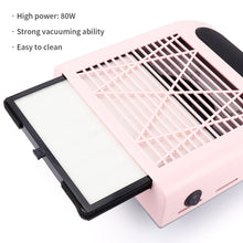 Load image into Gallery viewer, 80W Nail Dust Suction Dust Collector Fan Vacuum Cleaner Manicure Machine Tools Strong Power Nail Fan Art Manicure Salon Tools - My Little Decors.com