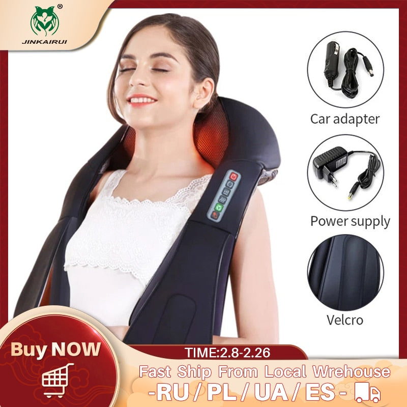 U Shape Electrical Shiatsu Back Neck Shoulder Body Massager Infrared 4D Kneading Massage EU/Flat Plug Car Home Dual Use 16 Balls - My Little Decors.com