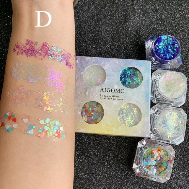 4 Colors Eye Shadow Liquid Mermaid Make Up Eyeshadow Gel Body Face Sequins Glitter Eyes Makeup Cream Festival Cosmetics Tool - My Little Decors.com