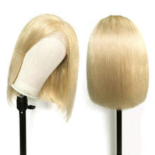 "Load image into Gallery viewer, Blonde Bob Wigs Real Human Hair Colored 613 Straight 13x4 Lace Frontal Wig for Black Women Short 10"" Glueless Thick 150% Density - My Little Decors.com"