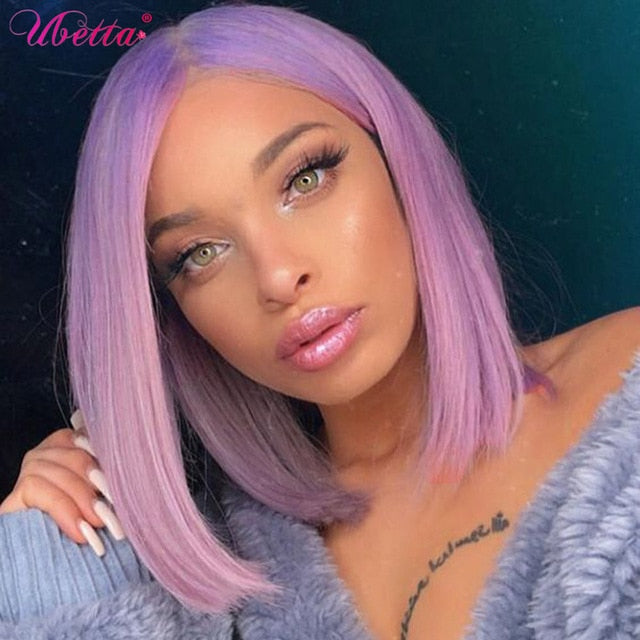 Blonde Bob Wigs Real Human Hair Colored 613 Straight 13x4 Lace Frontal Wig for Black Women Short 10