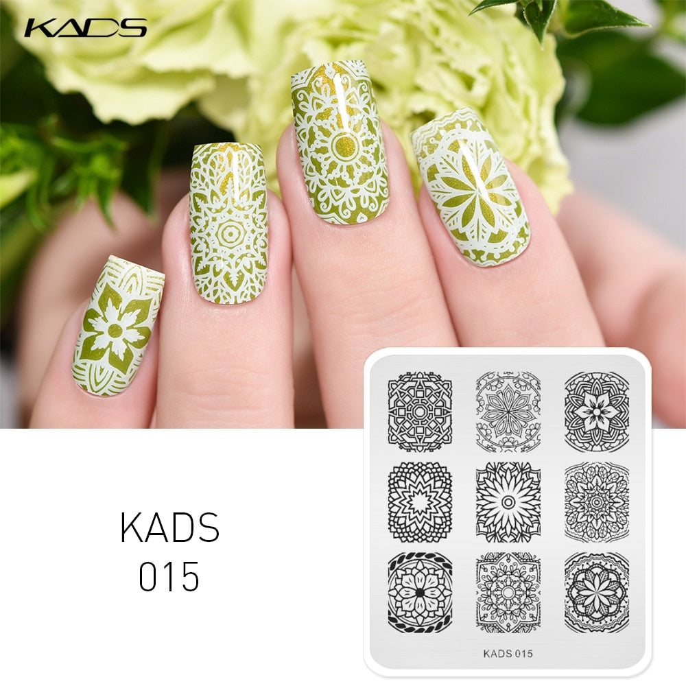 KADS Hot Sale Elegant Flower Design Stainless Steel Nail Art Stencils Nail Polish Printing Plates Beauty DIY Nail Manicure Tools - My Little Decors.com