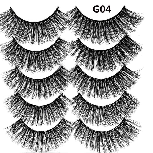 5 Pairs Luxurious Mink Hair False Eyelashes Thick Curled Full Strip Lashes Eyelash Extension Fashion Women Eyes Natural Makeup - My Little Decors.com