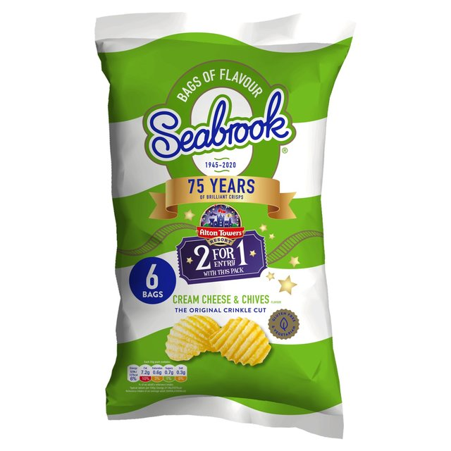 Seabrook Crinkle Cut Cream Cheese & Chives 6 Pack
