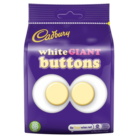 Cadbury White Buttons Giant Chocolate 110g - 3.8oz