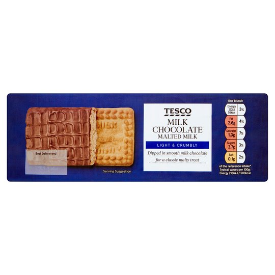 Tesco Chocolate Malted Milk Biscuits 250g - 8.8oz