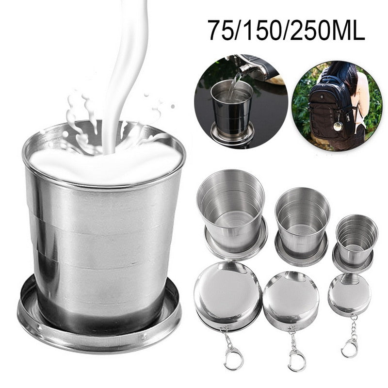 Stainless Steel Folding Cup With Keychain Portable Retractable Telescopic Collapsible Cups Outdoor Water Drinking Cup