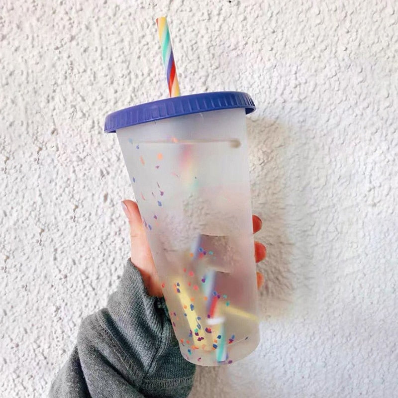 5Pcs Reusable Water Bottle Temperature Color Changing Confetti Cup With Lid And Straw Plastic Cold Cup Sport Colorful Cold Water