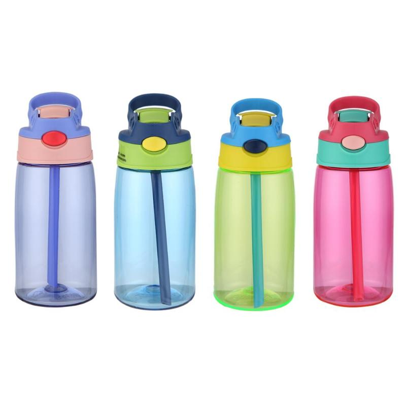 Portable 480mL Plastic Drinking Cup Leakproof Sports Water Bottle w/Straw