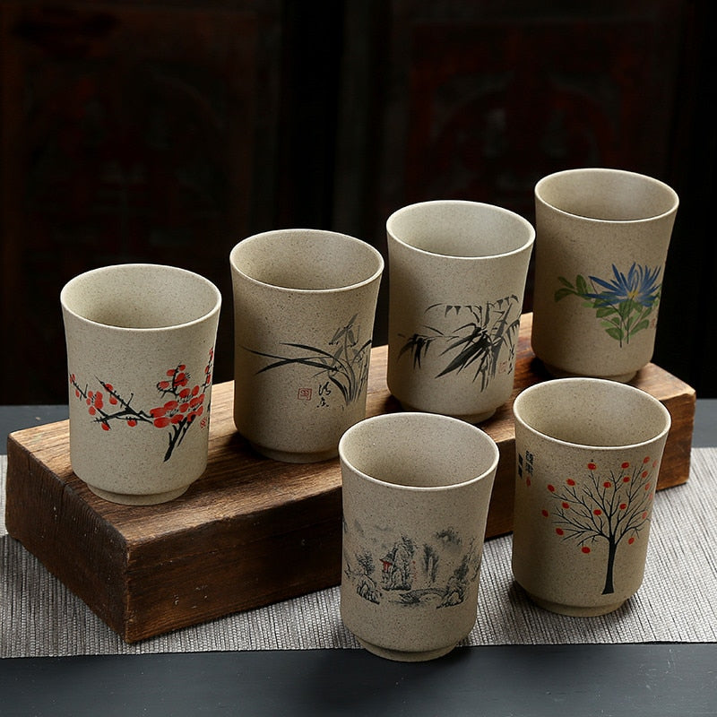 Large Capacity Ceramic Teacups Japanese Hand-painted Coarse Pottery Tea Cups Creative Retro Fung Fu Water Cup Office Drinkware