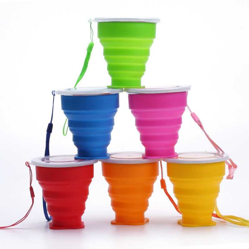 1Pc 300ML Portable Cup Foldable Cup Telescopic Collapsible Cup Outdoor Sport Folding Cup Travel Water Bottle Drinkware Water Cup