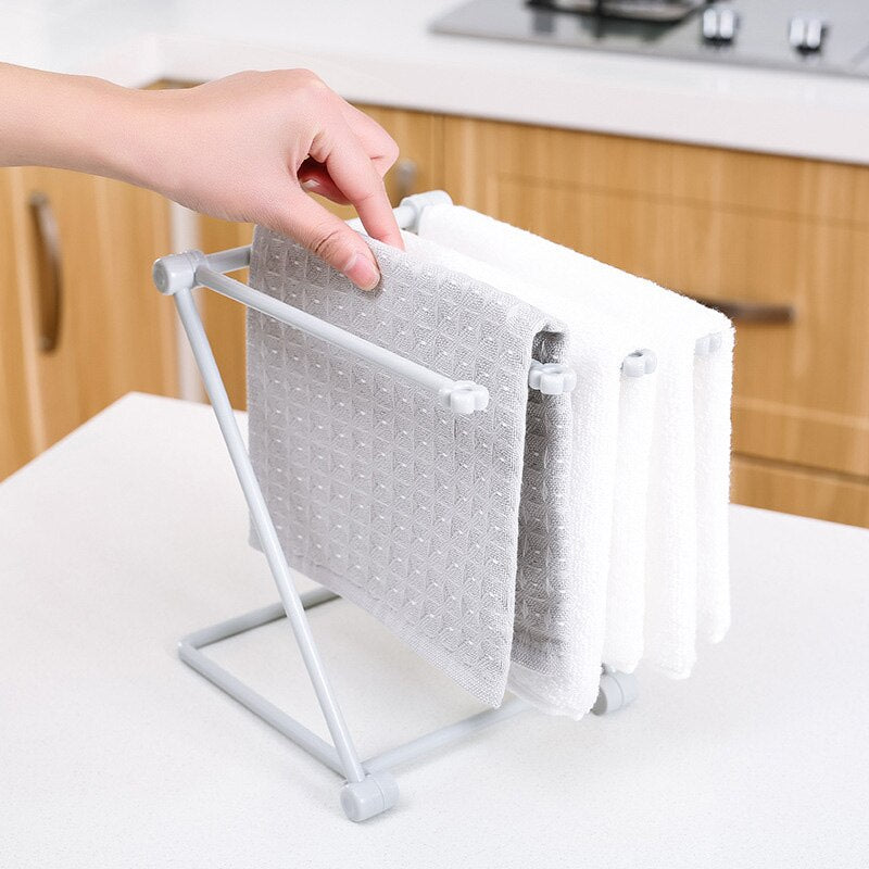 Foldable Vertical Dishcloth Kitchen Towel Hanger, Perforation-Free Mesa Shelf, Water Cup Shelf Shelf