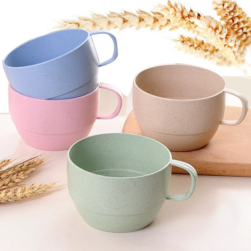 Wheat Fiber Straw Coffee Cup Lovely Cute Coffee Cafe Tea Milk Breakfast Cup Couple Fashion Drinking Cup High Drinks Water Cups
