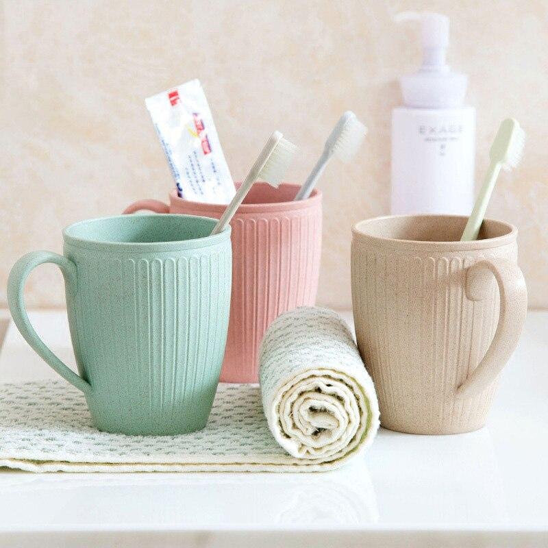 Plain Eco-friendly Brush Cup Creative Circular Water Cups Toothbrush Holder Plastiic Cup Rinsing Cup Wash Tooth Mug Bathroom