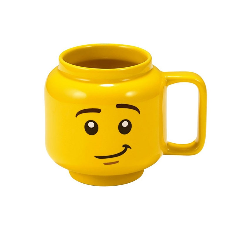 Lego mug-cups Creative yellow smile face Cartoon  Cup Milk Coffee Ceramic Drinking Water Holder Fashion  Gift