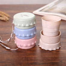 Load image into Gallery viewer, Travel Plastic Folding Wheat Water Glass Collapsible Folding Cup Telescopic Drinking Cup Convenient Easy To Carry Fold Down Flat