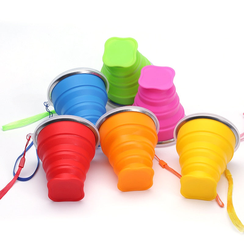 New Vogue Outdoor Travel Silicone Retractable Folding Cup Telescopic Collapsible Portable Water Cup 300ml Cup